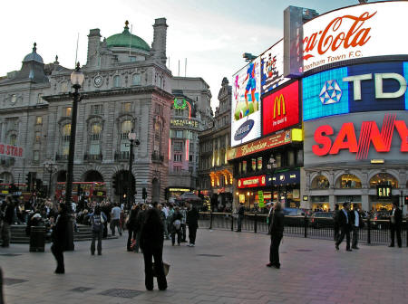 Piccadilly Circus in London England